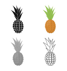 Pineapple icon cartoon singe fruit icon vector