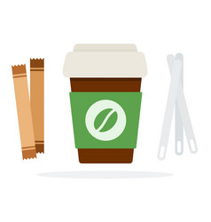 plastic coffee cup with a lid with sugar sticks vector image