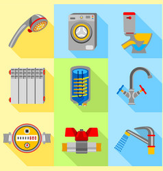 Plumbing house icons set flat style vector