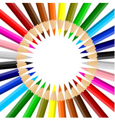 Rainbow colored pencils arrayed in a circle vector