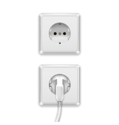 Realistic White Plug and Socket vector