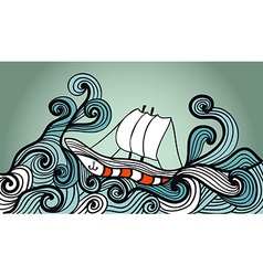 sailing ship in the storm ocean vector image