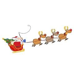 Santa riding sleigh cartoon vector