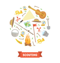 scouting banner template with camping and hiking vector image