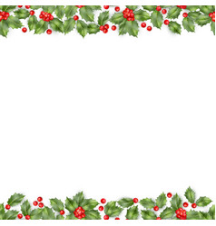 Seamless border from christmas holly berry eps 10 vector