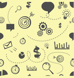 seamless doodle office stuff pattern on yellow vector image