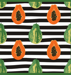 seamless summer pattern with papayas on black and vector image