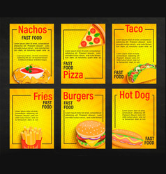 set fast food shop menu pages vector image