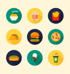 set food and drink flat design icon with long vector image