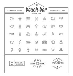 Set of beach sea bar elements and summer can vector