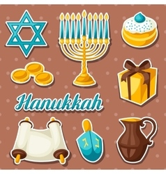 Set of Jewish Hanukkah celebration sticker objects vector image