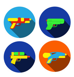 set water gun icons in flat style vector image