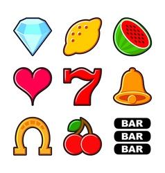 Slot machine icons set vector