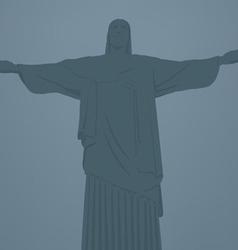 Statue of jesus christ in rio de janeiro vector