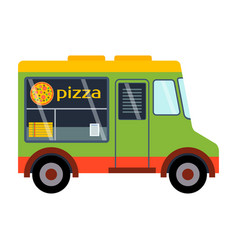 Street food festival pizza trailer vector