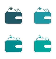 Stylish assembly sticker on paper purse and money vector