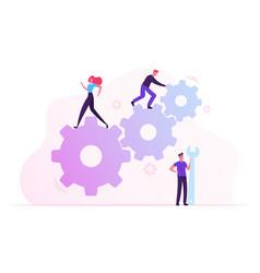 Team work cooperation in gears mechanism vector