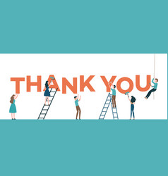 thank you text with men and vector image