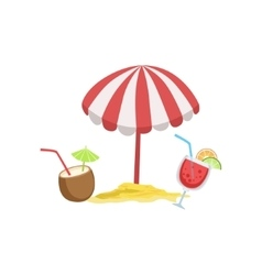 Two Cocktail Tropical Drinks And Beach Umbrella vector