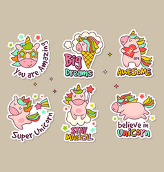 unicorn badges fashion labels set or stickers vector image