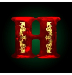Velvet h letter with gold vector