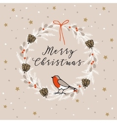 Vintage merry christmas happy new year greeting vector