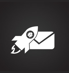 virus mail on black background icon vector image