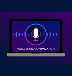 voice search optimization flat banner and icons vector image