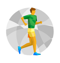 walking sportsman with abstract patterns vector image