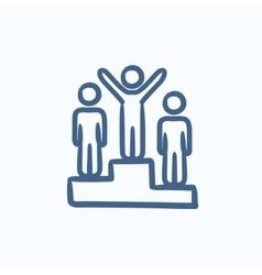 Winners on podium sketch icon vector image