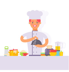 woman chef cartoon character cooking in kitchen vector image