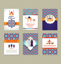banners set of islamic celebration ramadan kareem vector image vector image