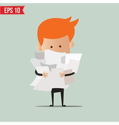 Business man with paper stuff - - EPS10 vector image vector image