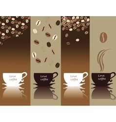 Coffee cups and coffee beans pattern set vector image