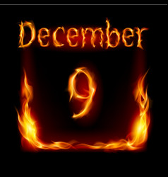 ninth december in calendar of fire icon on black vector image