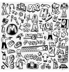 Rap hip hop graffiti - doodles set vector