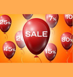 red balloons with an inscription sale sale concept vector image