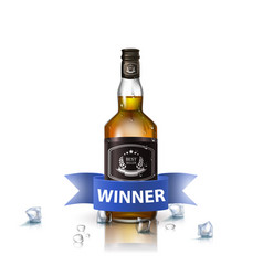bottle of brandy bourbon whiskey cognac with vector image