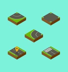 isometric road set of strip crossroad navigation vector image
