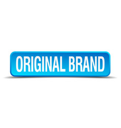 original brand blue 3d realistic square isolated vector image