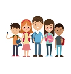 back to school group students ready study vector image vector image