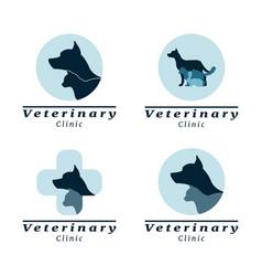 set of logo vet clinic vector image