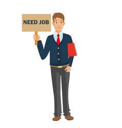 unemployed man with cv need job vector image vector image