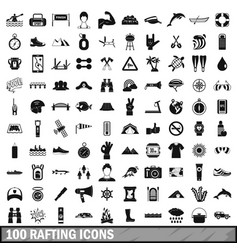 100 rafting icons set simple style vector