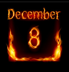 eighth december in calendar of fire icon on black vector image