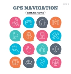 GPS navigation icon Car Bus and Ship transport vector image