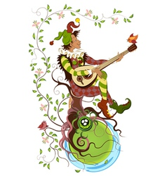 Jolly jester playing the mandolin vector
