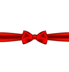 Red gift bow with ribbon vector image vector image