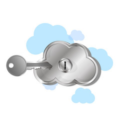 virtual cloud with lock vector image