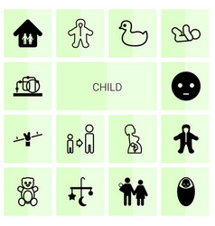 14 child icons vector image